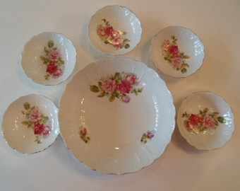 RESERVED FOR MARIAWAID1 Vintage Pretty Rose set of little and large Bowl with Roses in  Red  Pink  Green and Gold  Sweet Plate
