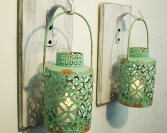 Rustic lanterns, Rustic wall sconce, wall mount decor, rustic farmhouse kitchen, Bedroom decor, wall mount lantern, Turquoise wall sconce