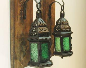 Green glass Moroccan Lanterns, Lantern decor, Farmhouse lantern, Rustic decor, Living room decor, bedroom decor, Farmhouse kitchen decor