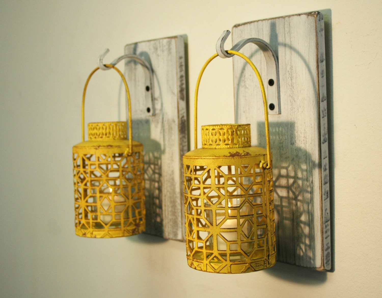 Rustic lantern decor Farmhouse lantern Wall sconce Rustic   Etsy