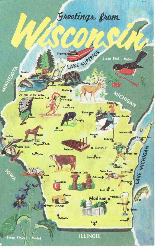 Old Postcard Greetings from Wisconsin Picture Map