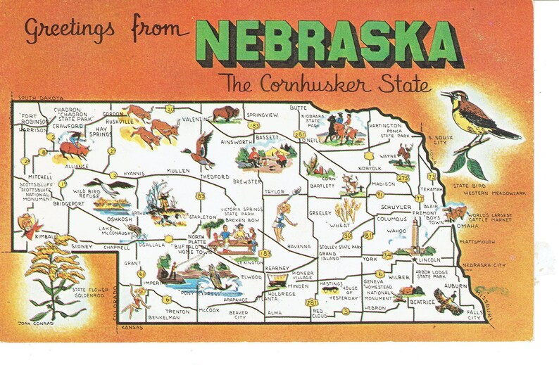 Greetings From Nebraska State Map Vintage Postcard The Etsy
