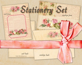 Stationary Set Envelope No 3 with card Instant download Vintage card French style