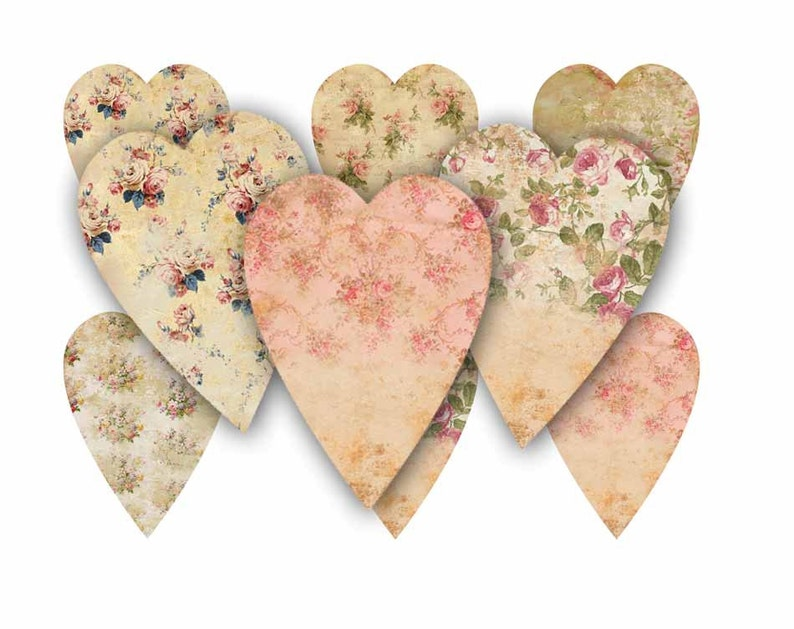Shabby Chic Heart No 5 Flower Hearts Shabby Chic Roses Digital Colalge Sheet Download