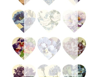 Digital Collage Sheet No 09 Blue Flower Hearts