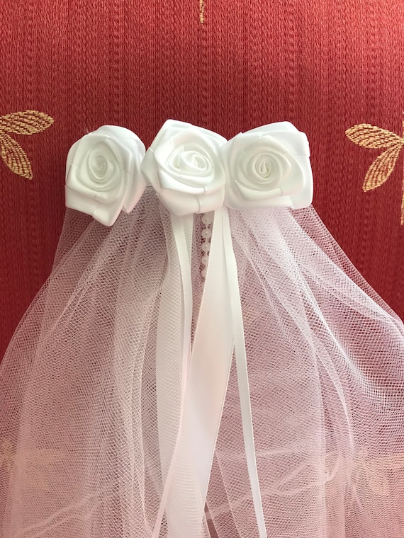 First Communion//Flower Girl Veil on White Saitn Bow with Sheer Flower Center New