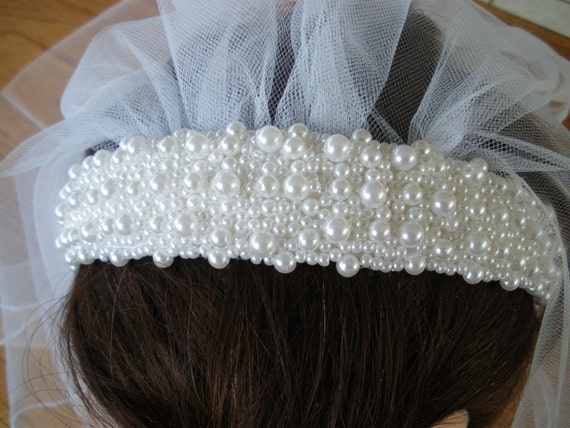First Communion  Wedding Pearl Headband with edged white  3284377aad5