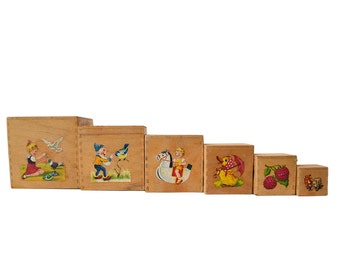Vintage Wooden Nesting Boxes, Six Stacking Blocks Set with Picture Decals