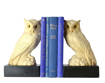 Vintage A. Giannelli Owl Bookends, Owl Sculpture Alabaster Statues