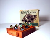 Vintage Deluxe Tic-Tac-Toe Game Wooden Block Board, Marbles Made in Japan