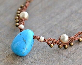 Turquoise  Stone Necklace / Turquoise Macramé Necklace / Turquoise Macrame Choker / Vaiana's necklace / Macramedamare / Moana necklace