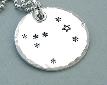 Canis Major - Hand Stamped Constellation Necklace - Sterling Silver