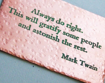 Etched Metal Wallet Card - Mark Twain quote - Always Do Good  - Wallet Card Insert = Personalized  - Accessories