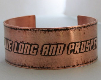 Live Long and Prosper - Etched Copper Star Trek Cuff Bracelet