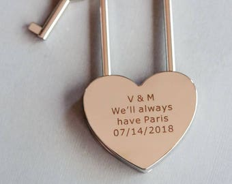 Love Lock, Heart Lock, Custom Lock, Silver Heart Love Padlock With Key, Engraved Lock Lock, Personalized Padlock