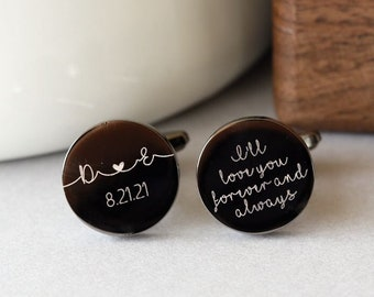 Personalized Cuff Links,Custom Gift for Groom from bride Cufflinks  Personalized Cufflinks Engraved Round Cufflinks Anniversary Gift for Him