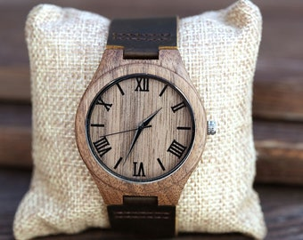 Personalized Wood Watch,Personalized Wooden Watch, Dark Brown Wooden Watch,Personalized Watch, Engraved Wood Watch, Gifts for Him,