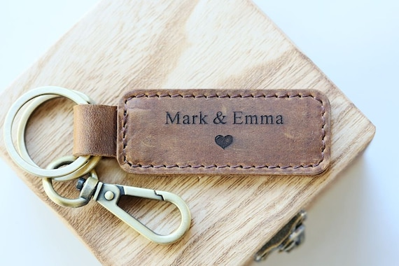 Leather Keyring Birthday Name Optional Engraving Shane