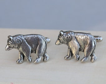 Bear Cufflinks Silver Plated Metal Vintage Inspired Style Antiqued Finish Men's Cuff Links & Accessories