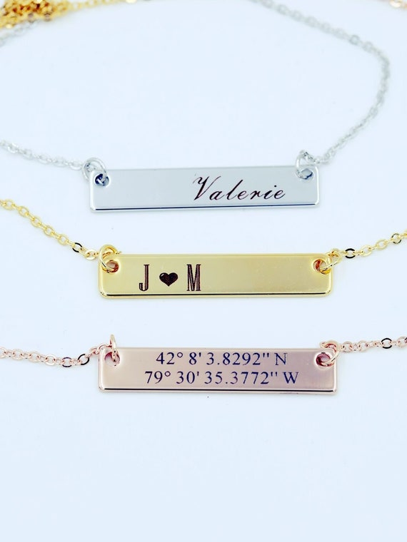 Personalized Bar Necklace Personalized Jewelry Necklace Name  86b2903f44