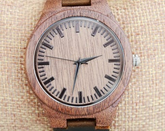 sale-Wood Watch,Personalized Brown Wooden Watch,Groomsmen Gifts, Father's Day Gift,engraved with personal text Anniversary, Wedding gift