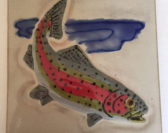 Relief Rainbow Trout Tile Custom Made 6 by 6 for Install