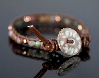 Beaded Leather Wrap Bracelet, Jasper and Copper