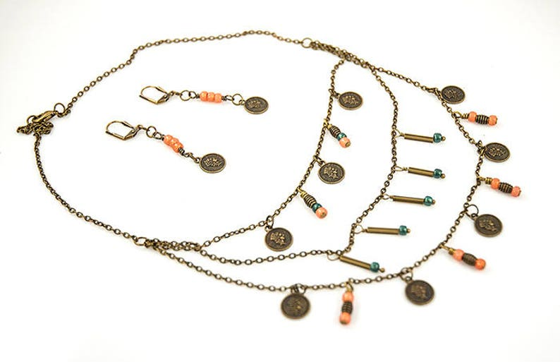 coin jewelry boho jewelry set Multilayered coin necklace with matching earrings