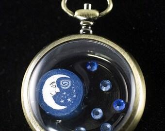 Moon & Stars Pocket Watch Pendant