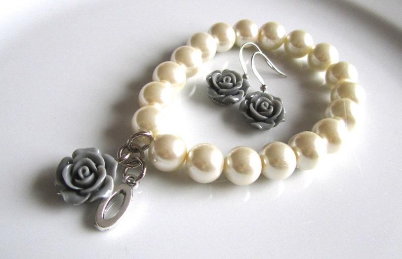 grey bridal grey rose pearl bridal bracelet Ivory pearl bracelet with grey rose earrings and letter bridesmaids Initial bracelet