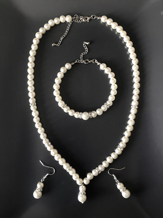 Pearl Necklace Set Pearl Necklace and Earrings Ivory Pearl Beaded Necklace Crystal Pearl Necklace Bridesmaid Necklace Wedding Necklace