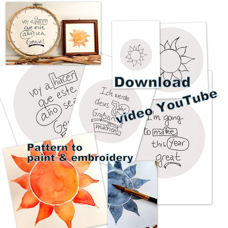 Instant download for paint or embroidery sun and quote work image 0