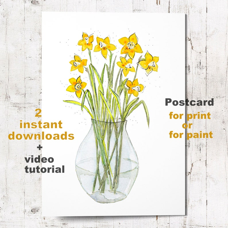Vase with Daffodils  Instant download for print or for paint