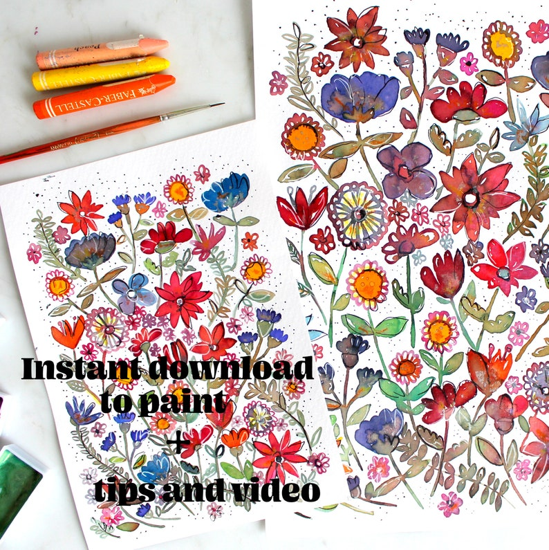 1 Instant download  for paint / coloring pages Flower meadow  image 0