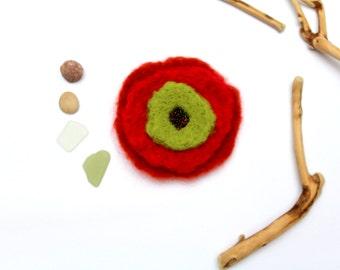 Flower felt brooch orange/red/green