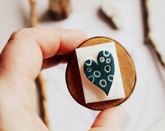 Carved stamp love heart handmade