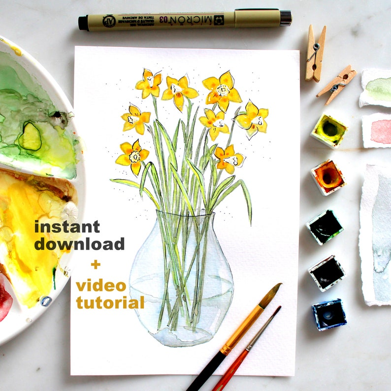 Vase with Daffodils / Instant download for print or for paint image 0