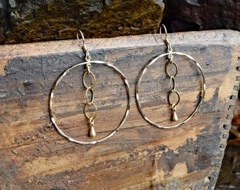 Hammered Hoop & Chain Earrings - Gold Filled