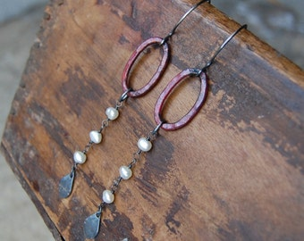 Hammered Copper & Pearl Drop Earrings