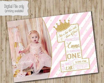 One Princess Birthday Invitation Gold Glitter 1st Girls Pink White Watercolor