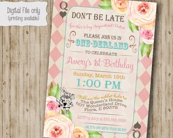 Alice In Onederland Birthday Invitation Mad Hatter Tea Party Etsy