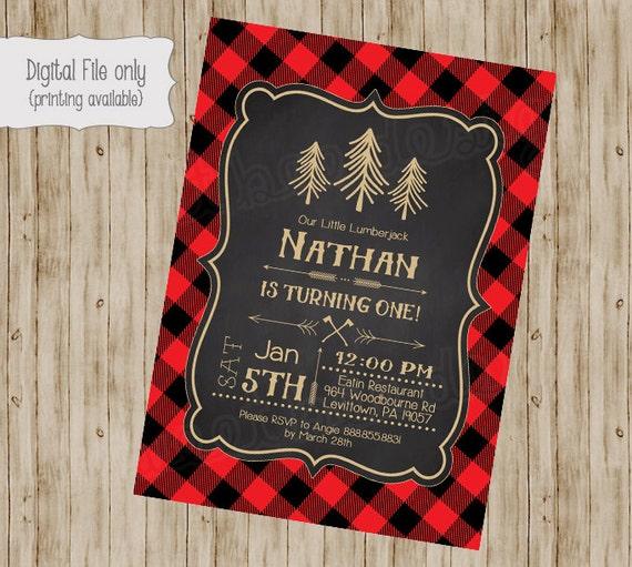 Lumberjack Birthday Invitation First