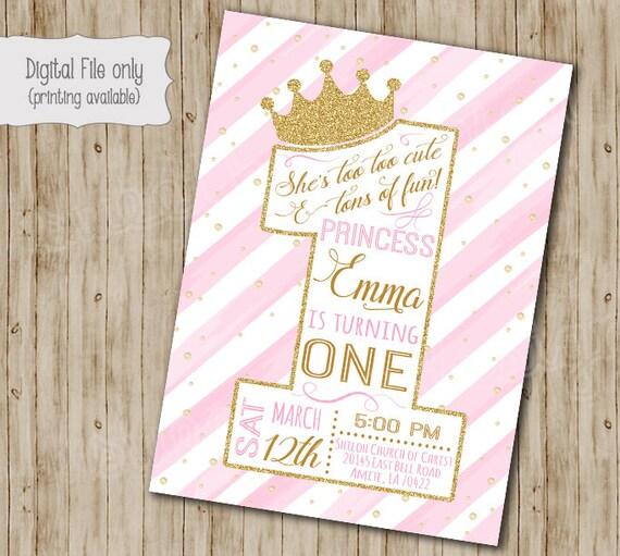 First Princess Birthday Invitation Gold Glitter