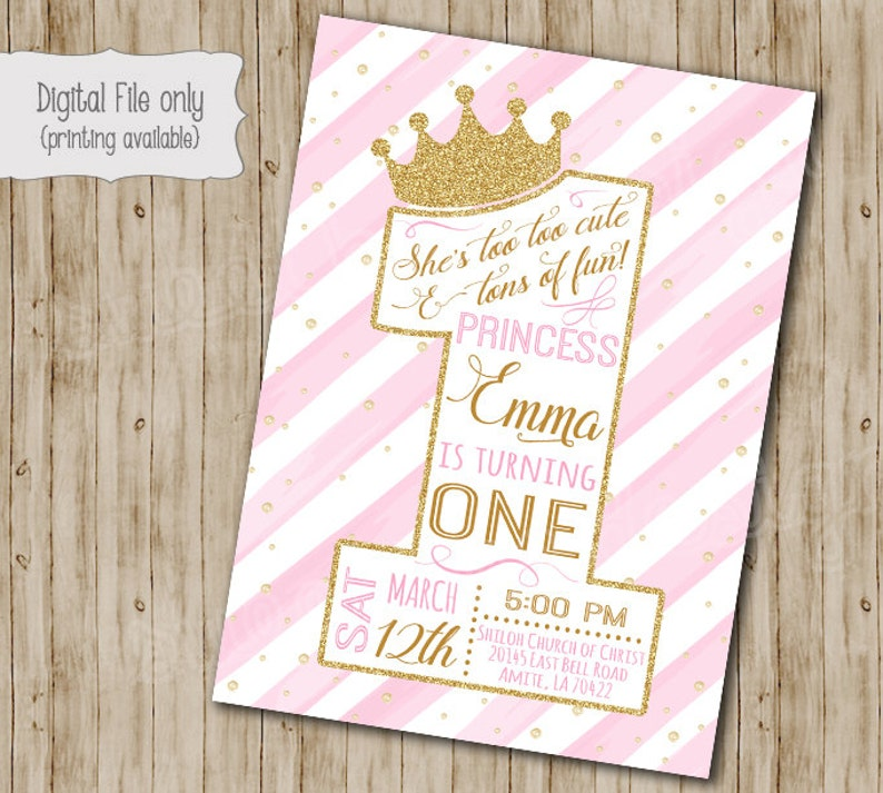 First Princess Birthday Invitation Gold Glitter