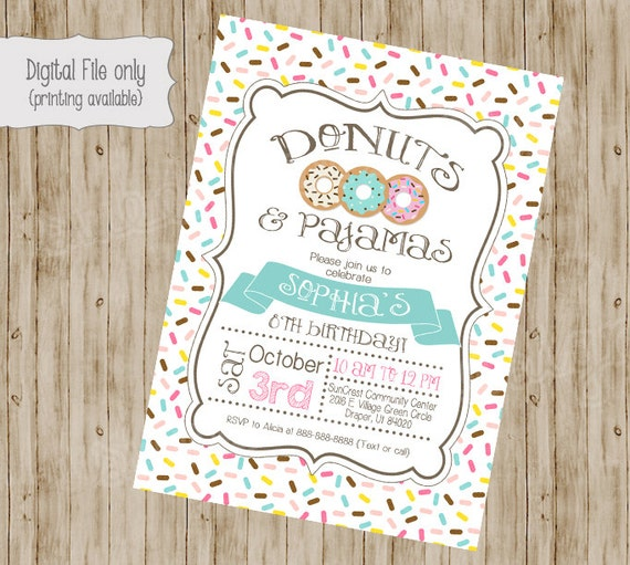 Donut And Pajamas Invitation Birthday Invite Pajama