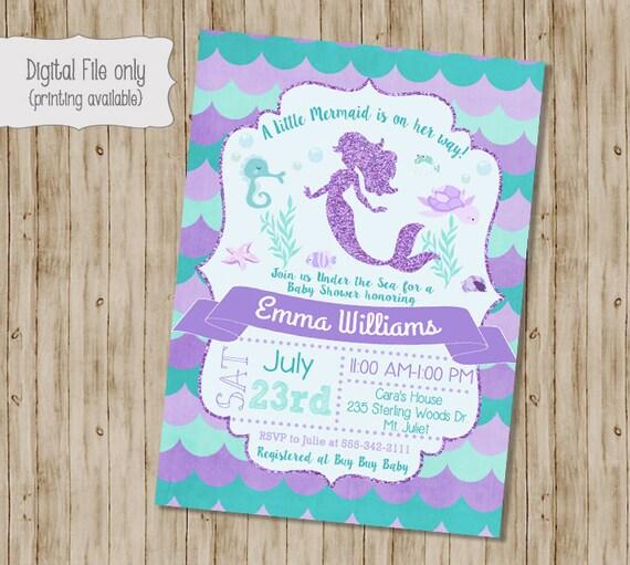 Mermaid Baby Shower Invitation Under The Sea Baby Shower Etsy