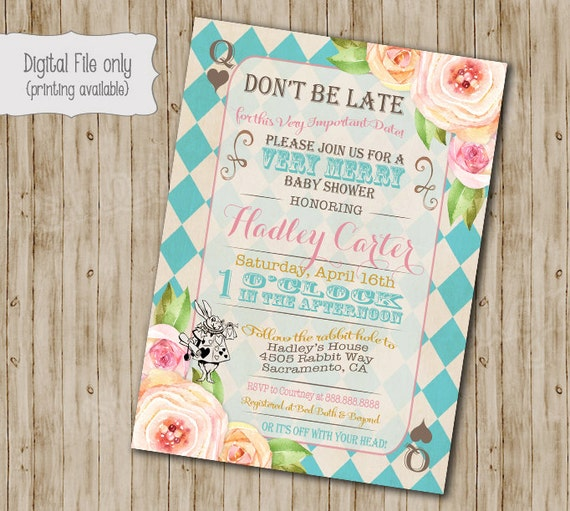 Alice In Wonderland Baby Shower Invitation Alice In Etsy