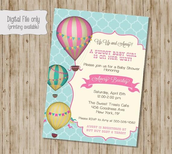 Hot Air Balloon Baby Shower Invitation Vintage Hot Air Etsy