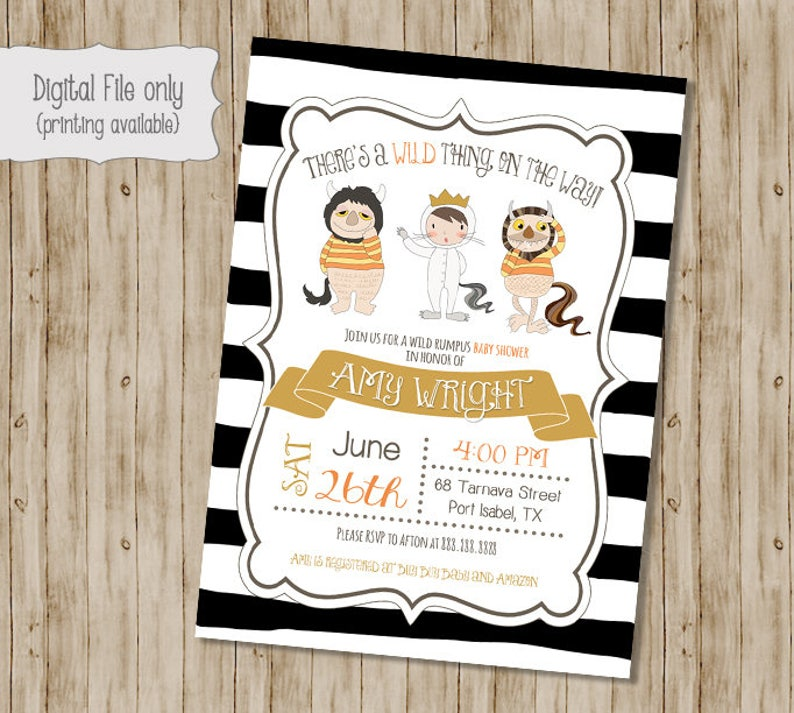 Where The Wild Things Are Baby Shower Invitation Wild Things Etsy