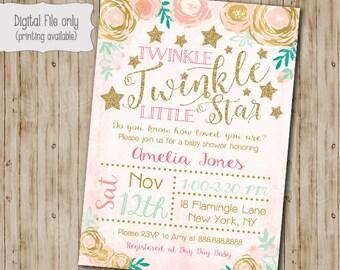 Twinkle Twinkle Little Star Baby Shower Invitation, Watercolor Flower, Twinkle Twinkle Shower Invite, Gold Glitter, Twinkles, Girl Twinkle